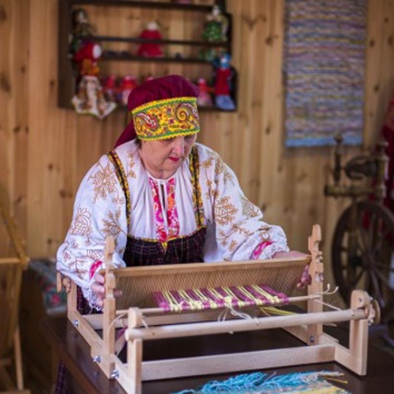 народ, миниатюра, старинный, славяне, ремесленное подворье, ткацкий станок,