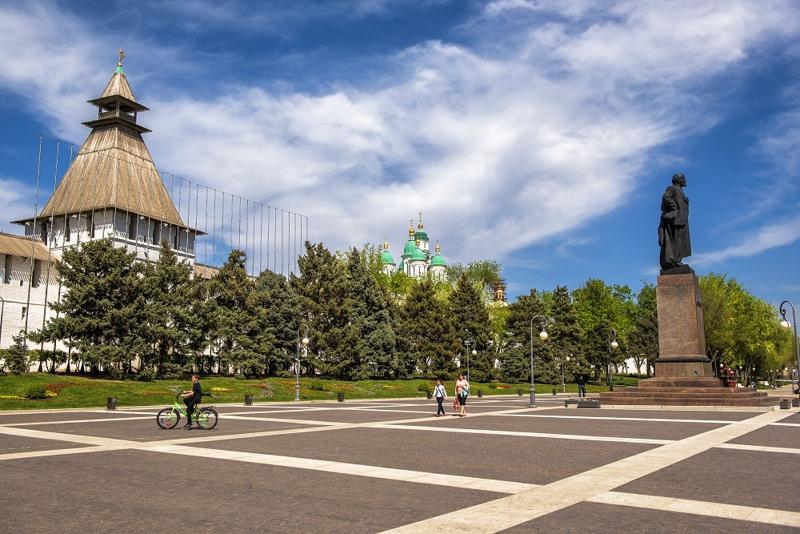площадь Ленина, вид, Астрахань, кремль, Ленин, памятник,